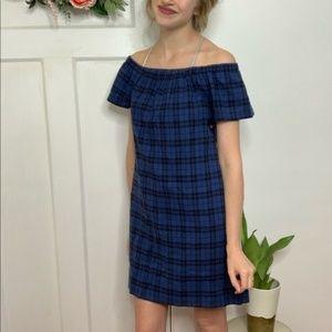 Madewell New Blue Black Off Shoulder Plaid Dress